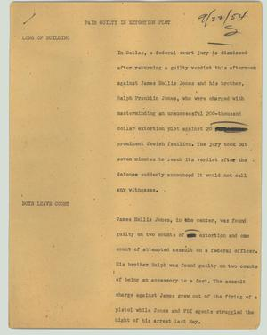 Primary view of object titled '[News Script: Pair guilty in extortion plot]'.