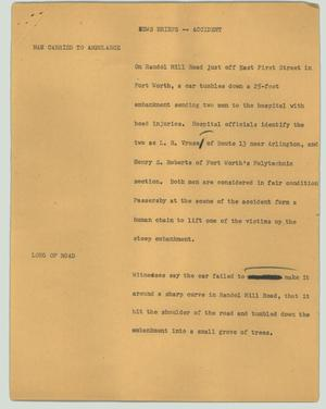 Primary view of object titled '[News Script: News briefs -- accident]'.