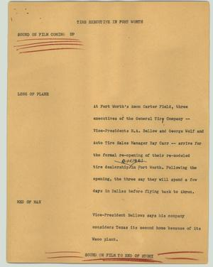 Primary view of object titled '[News Script: Tire executive in Fort Worth]'.