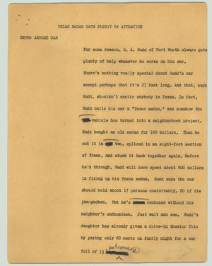 Primary view of object titled '[News Script: Texas sedan gets plenty of attention]'.