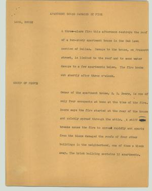 Primary view of object titled '[News Script: Apartment house damaged by fire]'.