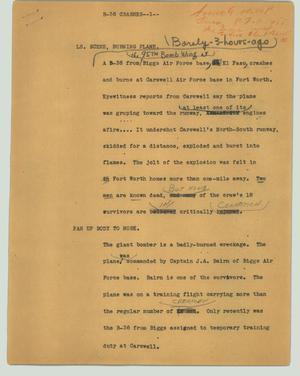 Primary view of object titled '[News Script: B-36 crashes]'.