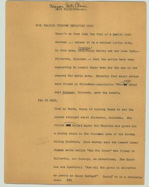 Primary view of object titled '[News Script: Miss Silverton]'.
