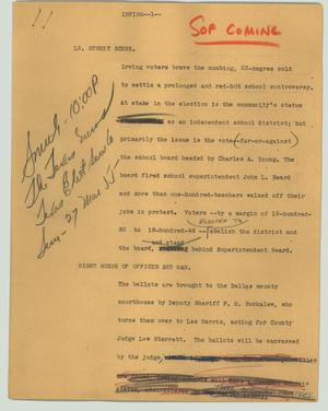 Primary view of object titled '[News Script: Irving]'.