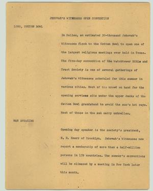 Primary view of object titled '[News Script: Jehovah's Witnesses open convention]'.