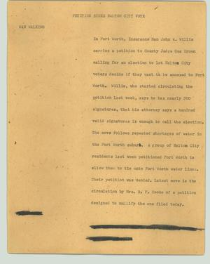 Primary view of object titled '[News Script: Petition seeks Haltom City vote]'.