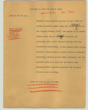 Primary view of object titled '[News Script: Governor in plea for Easter Seals]'.