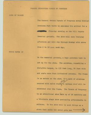 Primary view of object titled '[News Script: Parade introduces Parade of Progress]'.