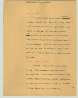 Primary view of object titled '[News Script: Fire destroys Dallas bridge]'.
