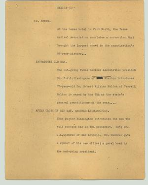 Primary view of object titled '[News Script: Medics]'.