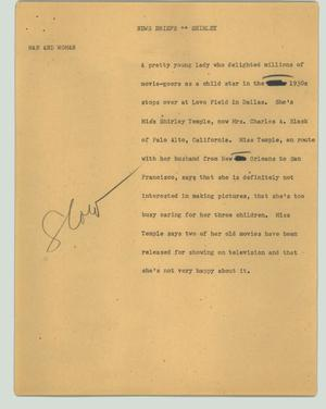 Primary view of object titled '[News Script: News briefs - Shirley]'.