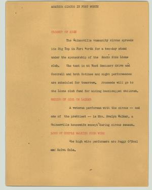 Primary view of object titled '[News Script: Amateur circus in Fort Worth]'.
