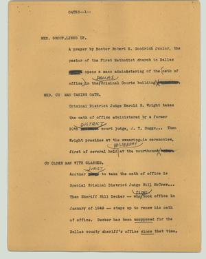 Primary view of object titled '[News Script: Oaths]'.