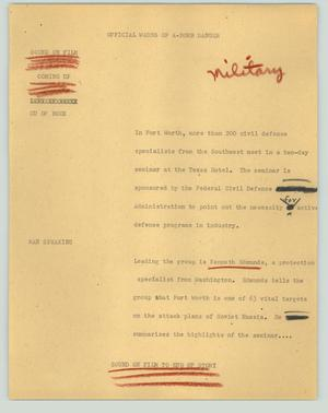 Primary view of object titled '[News Script: Official warns of A-bomb danger]'.