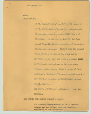 Primary view of object titled '[News Script: Engineers]'.