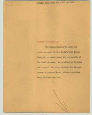 Primary view of object titled '[News Script: Jaycess give party for polio patients]'.