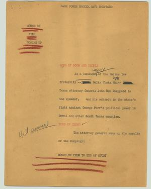 Primary view of object titled '[News Script: Parr power broken, says Sheppard]'.