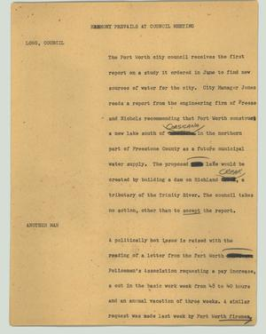 Primary view of object titled '[News Script: Harmony prevails at council meeting]'.