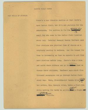 Primary view of object titled '[News Script: Carter Field carts]'.
