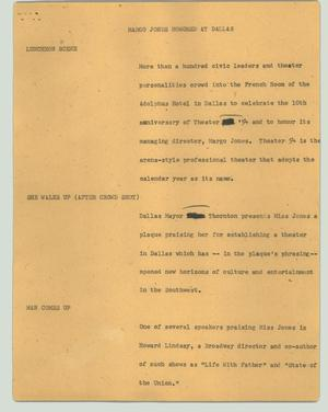 Primary view of object titled '[News Script: Margo Jones honored at Dallas]'.