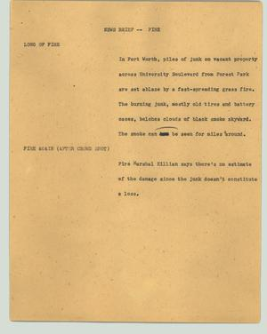 Primary view of object titled '[News Script: News Brief - Fire]'.