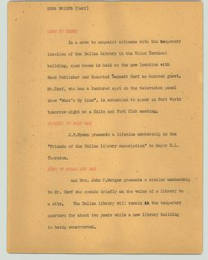 Primary view of object titled '[News Script: News briefs (Cerf)]'.