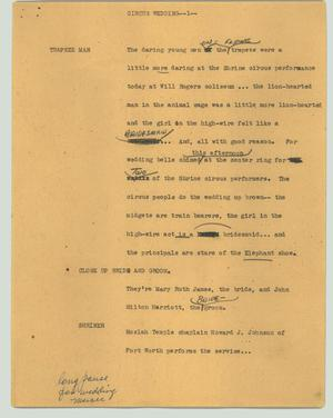 Primary view of object titled '[News Script: Circus wedding]'.