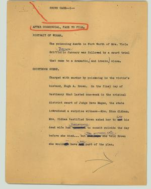 Primary view of object titled '[News Script: Brown case]'.