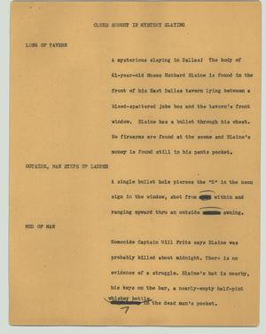 Primary view of object titled '[News Script: Clues sought in mystery slaying]'.