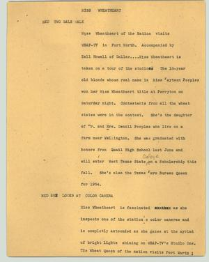 Primary view of object titled '[News Script: Miss Wheatheart]'.