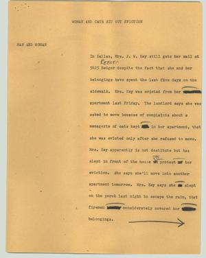 Primary view of object titled '[News Script: Woman and cats sit out eviction]'.