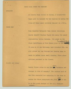 Primary view of object titled '[News Script: Negro girl cited for heroism]'.