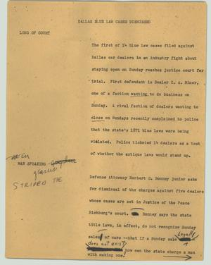 Primary view of object titled '[News Script: Dallas blue law cases dismissed]'.