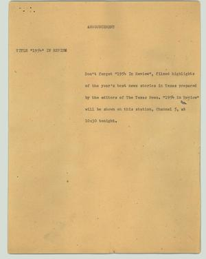 Primary view of object titled '[News Script: Announcement]'.