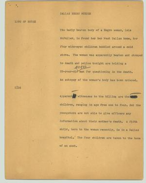 Primary view of object titled '[News Script: Dallas Negro murder]'.