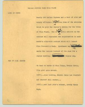 Primary view of object titled '[News Script: Dallas Jaycees name Miss Flame]'.
