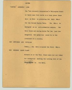 Primary view of object titled '[News Script: Copter]'.