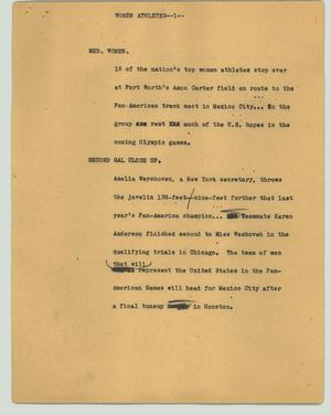 Primary view of object titled '[News Script: Women athletes]'.