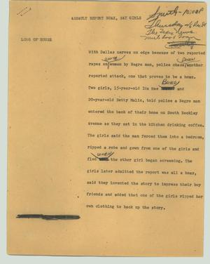 Primary view of object titled '[News Script: Assault report hoax, say girls]'.