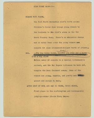 Primary view of object titled '[News Script: Kids horse show]'.