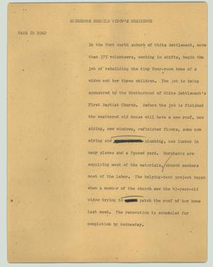 Primary view of object titled '[News Script: Neighbors rebuild widow's residence]'.