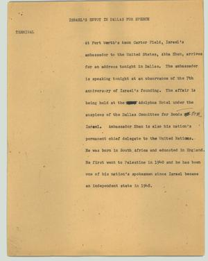 Primary view of object titled '[News Script: Israel's envoy in Dallas for speech.]'.