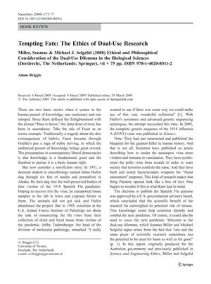 Primary view of object titled '[Review] Tempting Fate: The Ethics of Dual-Use Research'.