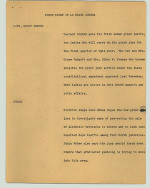 Primary view of object titled '[News Script: Women sworn in as grand jurors]'.