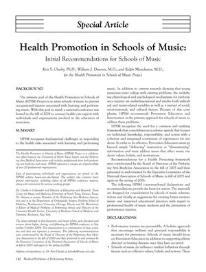 Primary view of object titled 'Health Promotion in Schools of Music: Initial Recommendations for Schools of Music'.