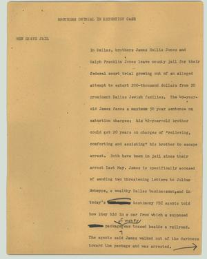Primary view of object titled '[News Script: Brothers on trial in extortion case]'.