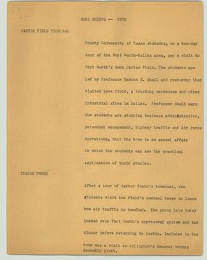 Primary view of object titled '[News Script: Tour]'.