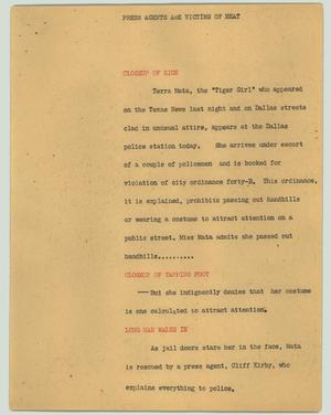 Primary view of object titled '[News Script: Press agents are victims of heat]'.