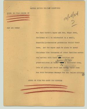 Primary view of object titled '[News Script: Mayors extend holiday greetings]'.