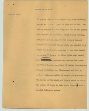 Primary view of object titled '[News Script: Maytag sales stunt]'.